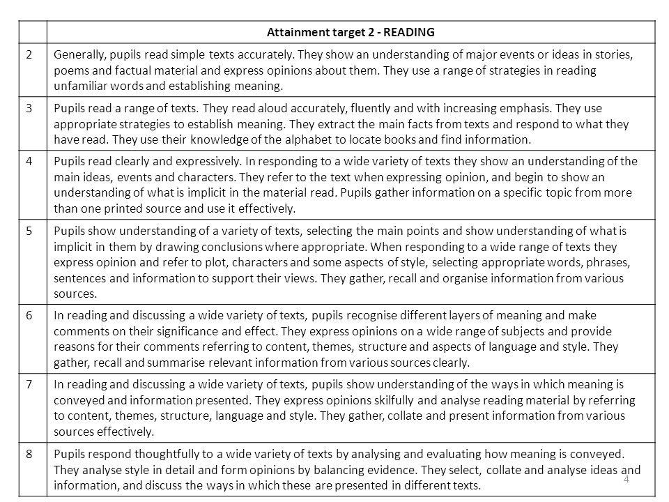 Attainment target 2 - READING