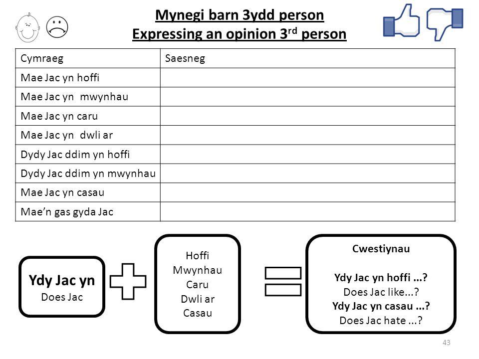 Mynegi barn 3ydd person Expressing an opinion 3rd person