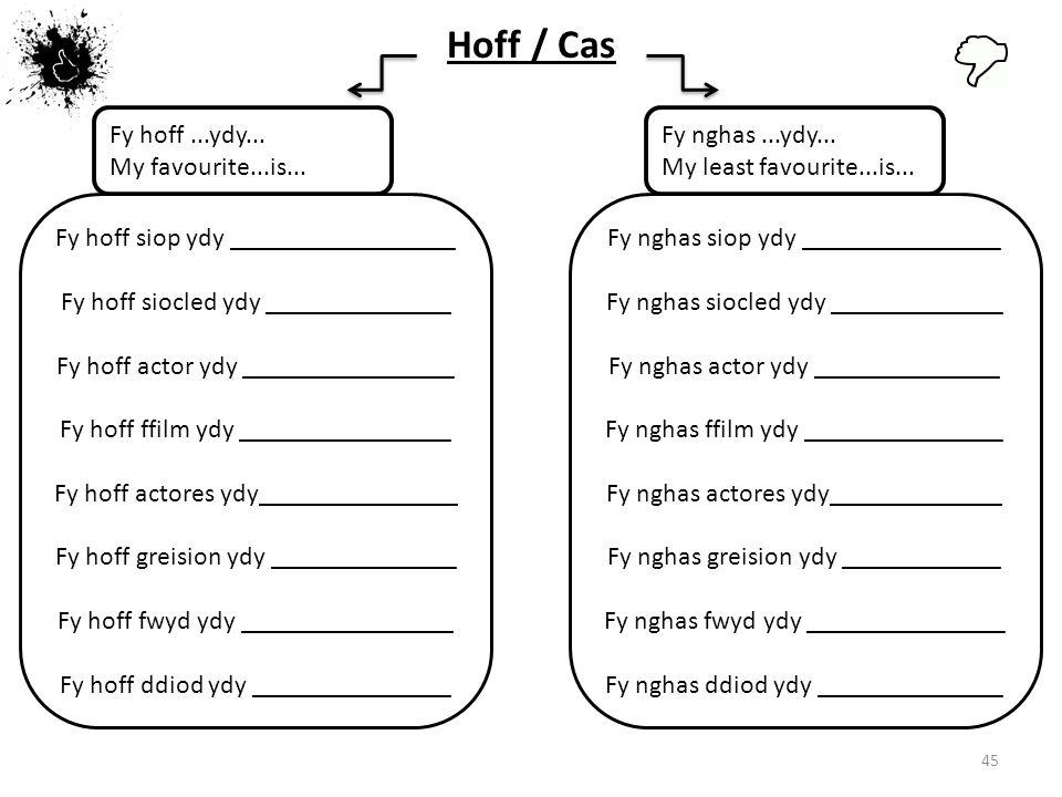 Hoff / Cas Fy hoff ...ydy... My favourite...is... Fy nghas ...ydy...