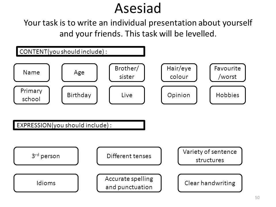 Asesiad Your task is to write an individual presentation about yourself and your friends. This task will be levelled.