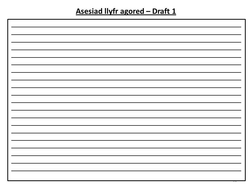 Asesiad llyfr agored – Draft 1