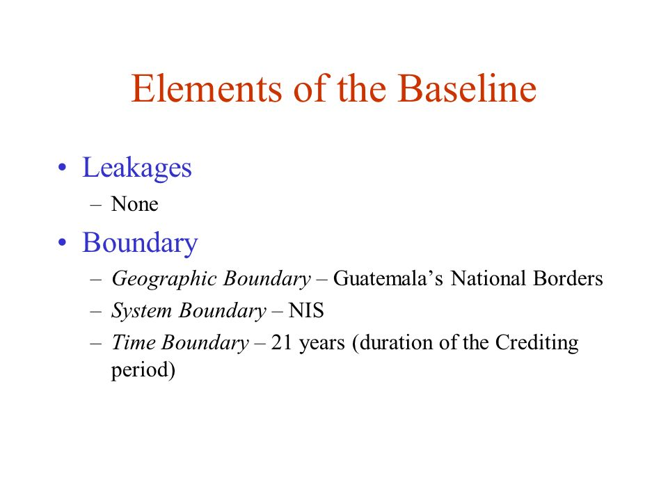 Elements of the Baseline
