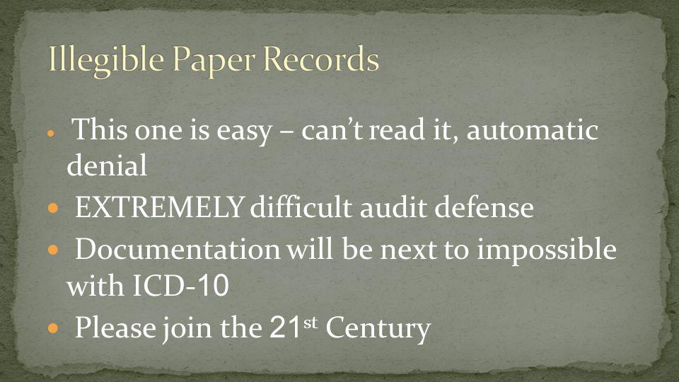 Illegible Paper Records