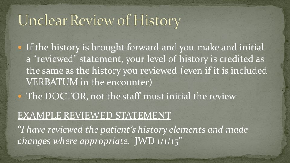 Unclear Review of History