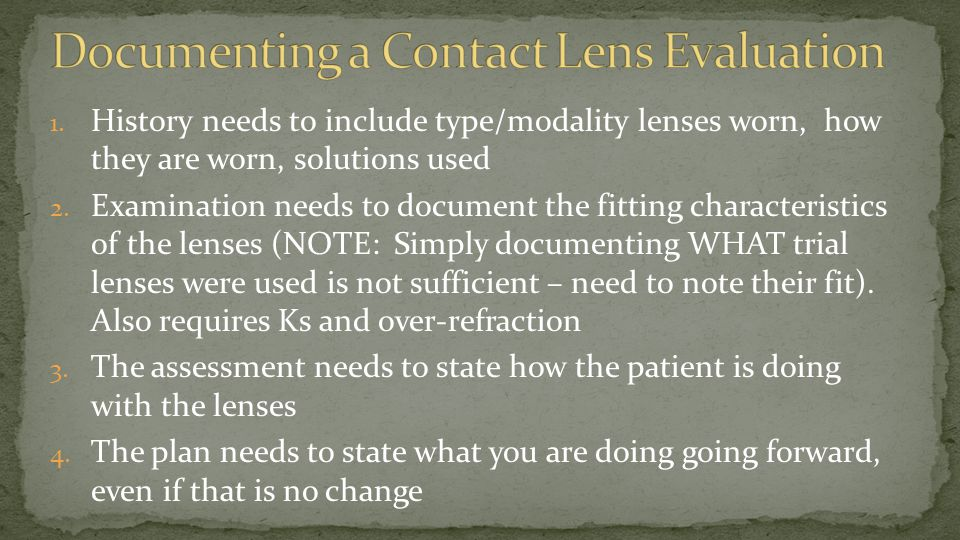 Documenting a Contact Lens Evaluation