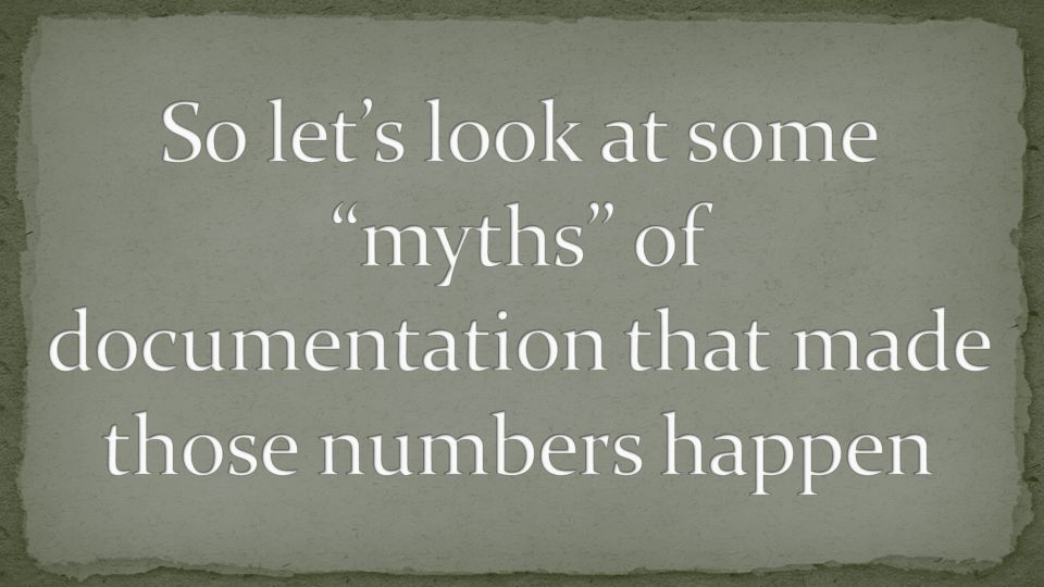 So let's look at some myths of documentation that made those numbers happen