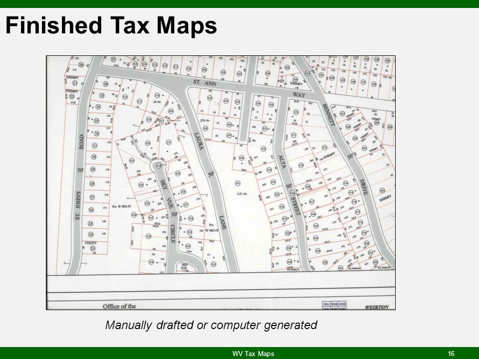 Finished Tax Maps Manually drafted or computer generated
