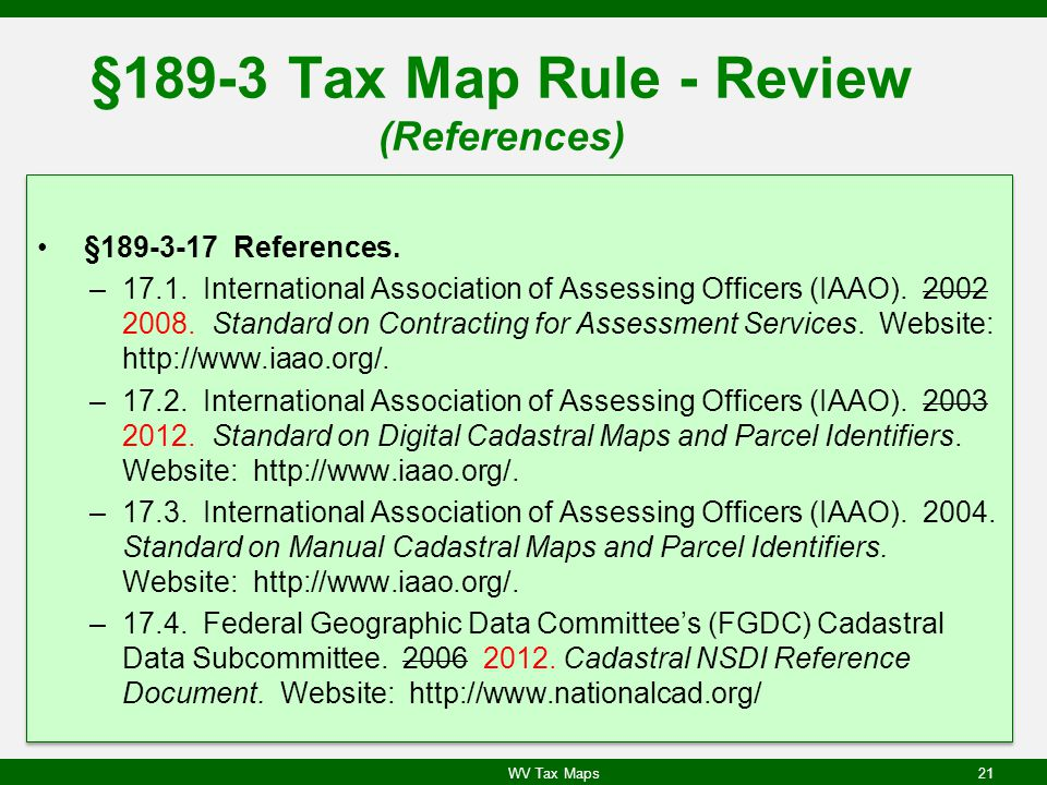 §189-3 Tax Map Rule - Review (References)