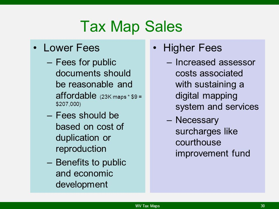 Tax Map Sales Lower Fees Higher Fees