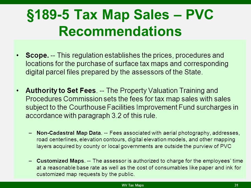 §189-5 Tax Map Sales – PVC Recommendations