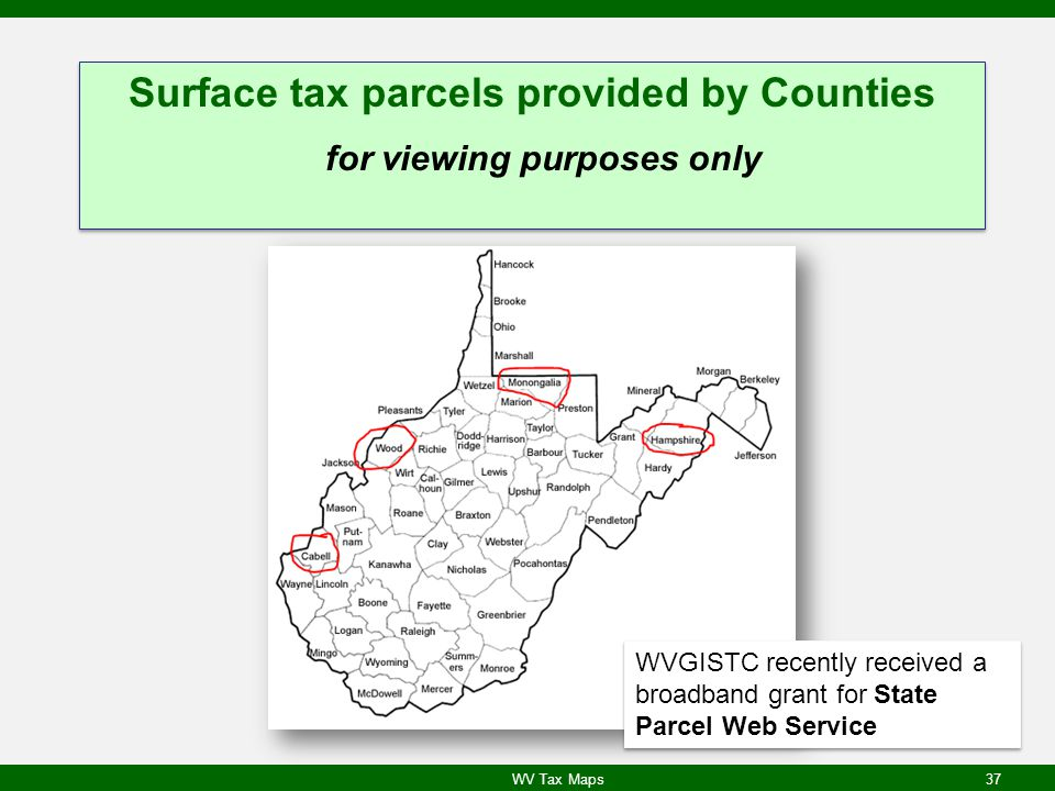 Surface tax parcels provided by Counties for viewing purposes only
