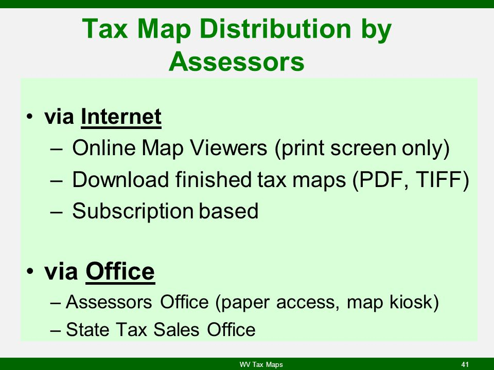 Tax Map Distribution by Assessors
