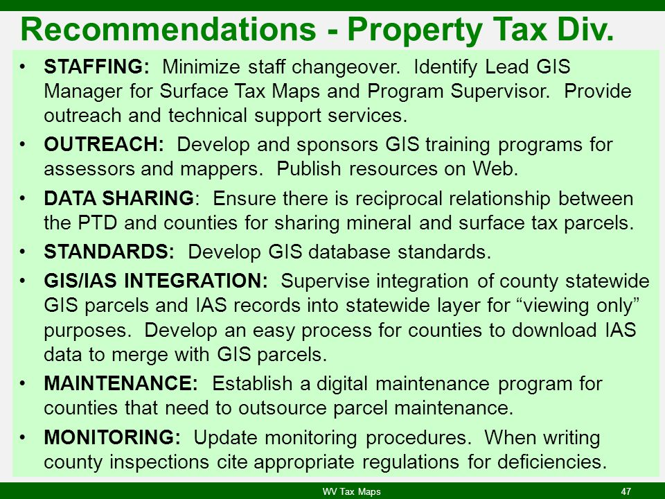 Recommendations - Property Tax Div.