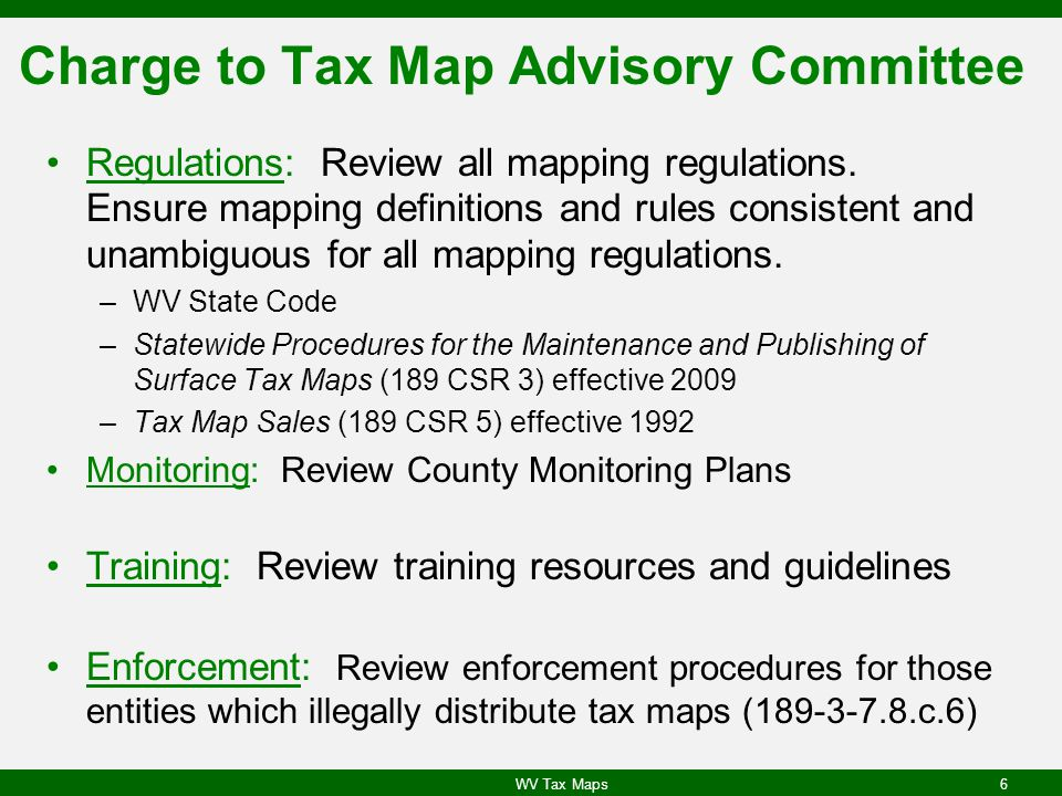 Charge to Tax Map Advisory Committee