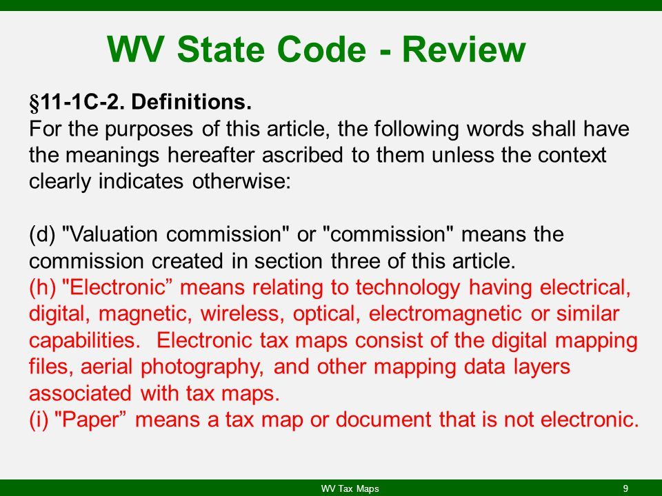 WV State Code - Review