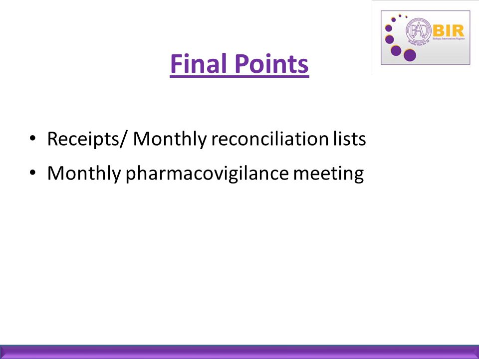 Final Points Receipts/ Monthly reconciliation lists
