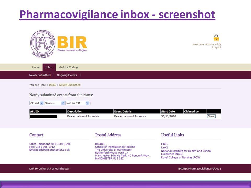 Pharmacovigilance inbox - screenshot