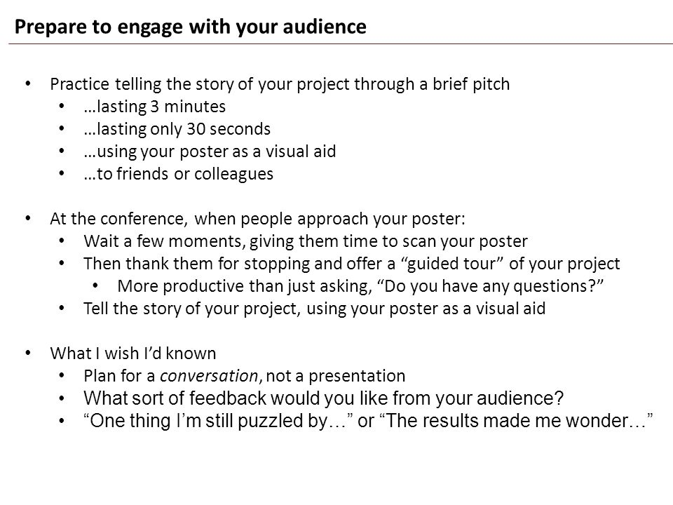 Prepare to engage with your audience