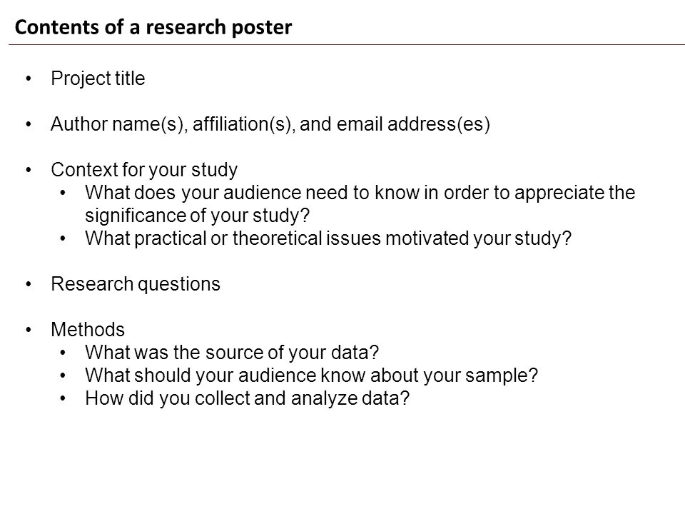 Contents of a research poster