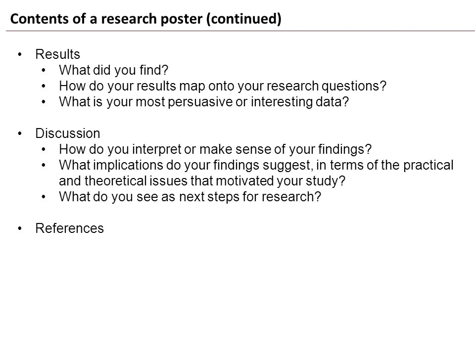 Contents of a research poster (continued)