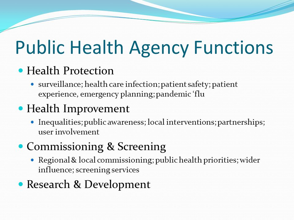 Public Health Agency Functions