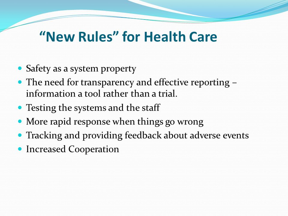 New Rules for Health Care