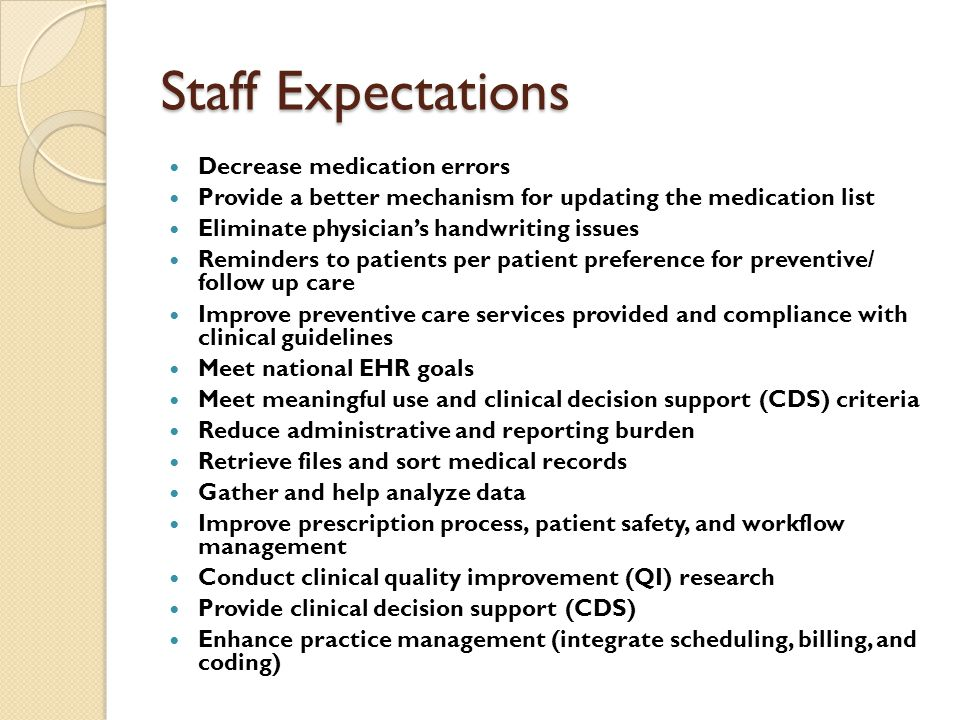 Staff Expectations Decrease medication errors