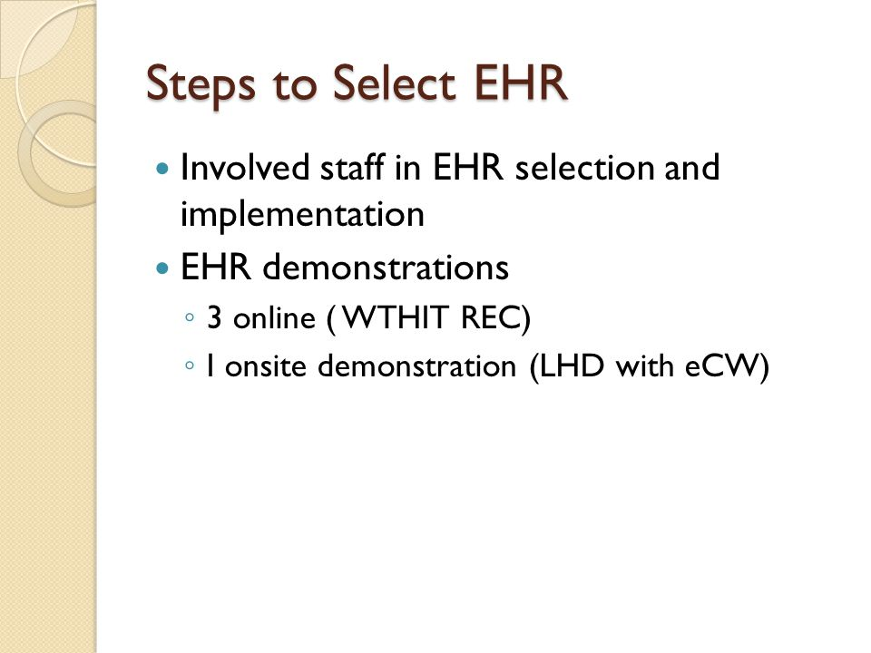 Steps to Select EHR Involved staff in EHR selection and implementation