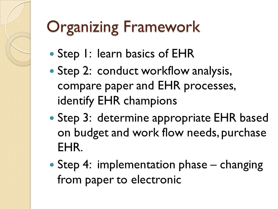 Organizing Framework Step 1: learn basics of EHR