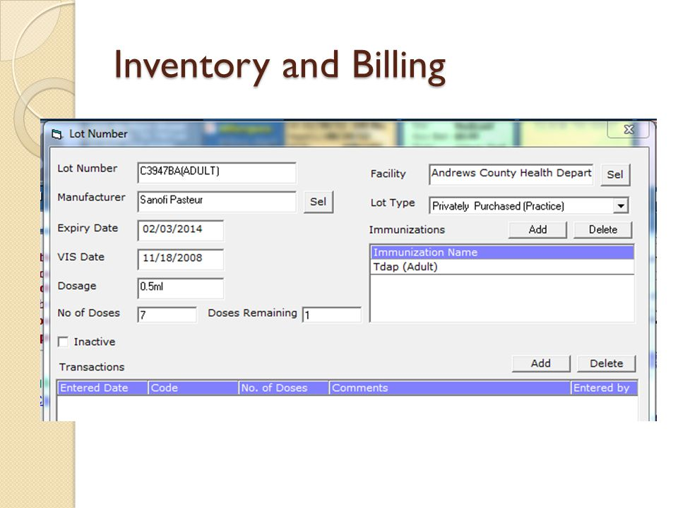 Inventory and Billing
