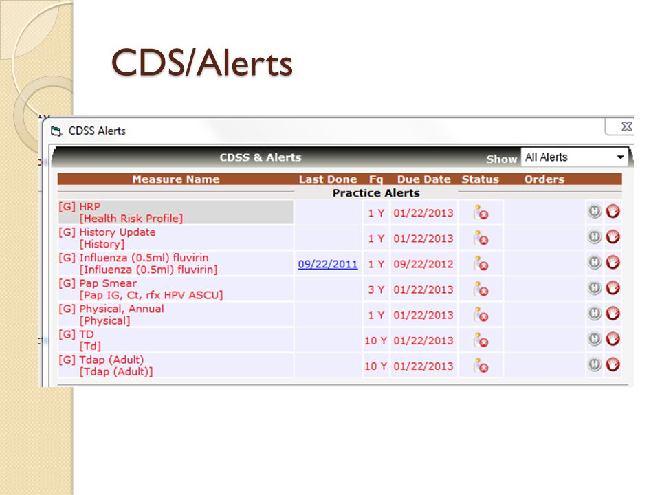 CDS/Alerts ACHD staff added multiple CDS/alerts to the system to decrease missed opportunities for vaccines and preventive health screenings.