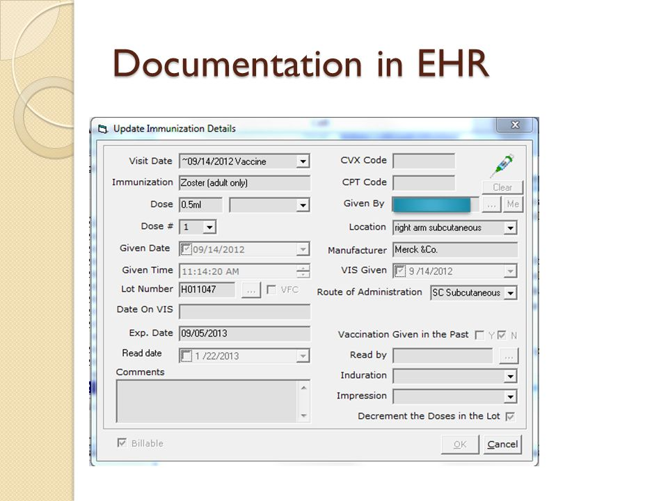 Documentation in EHR