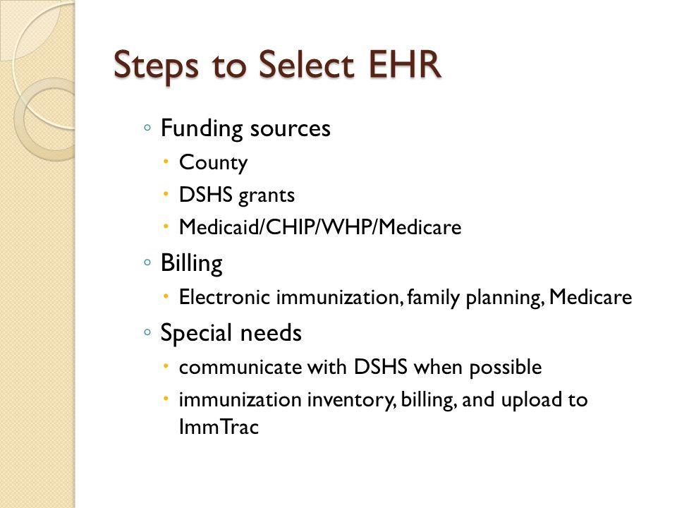 Steps to Select EHR Funding sources Billing Special needs County