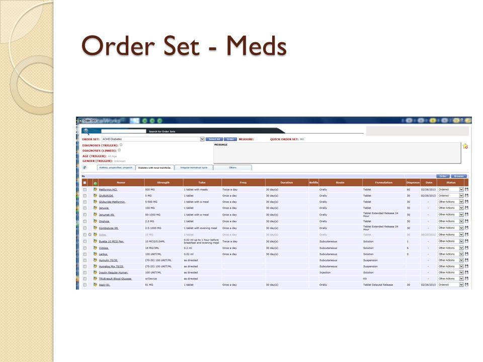 Order Set - Meds