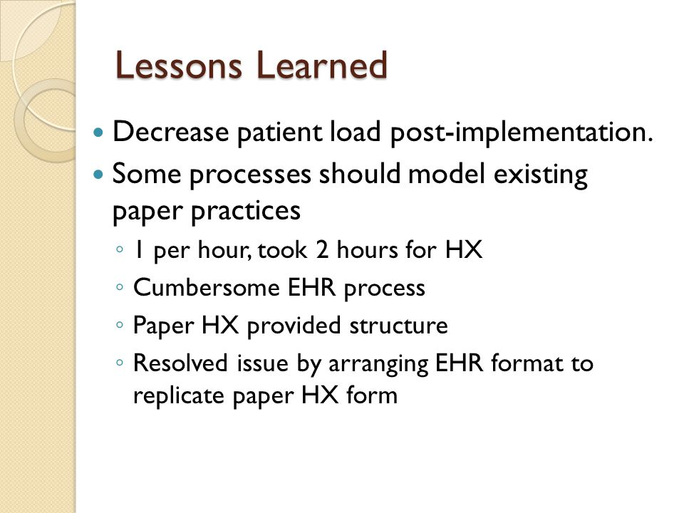 Lessons Learned Decrease patient load post-implementation.