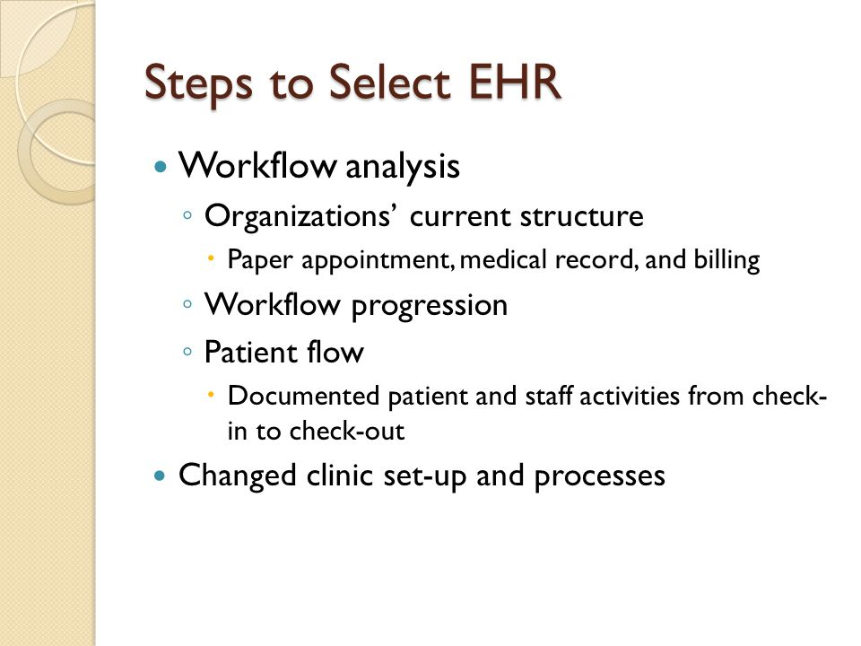 Steps to Select EHR Workflow analysis Organizations' current structure