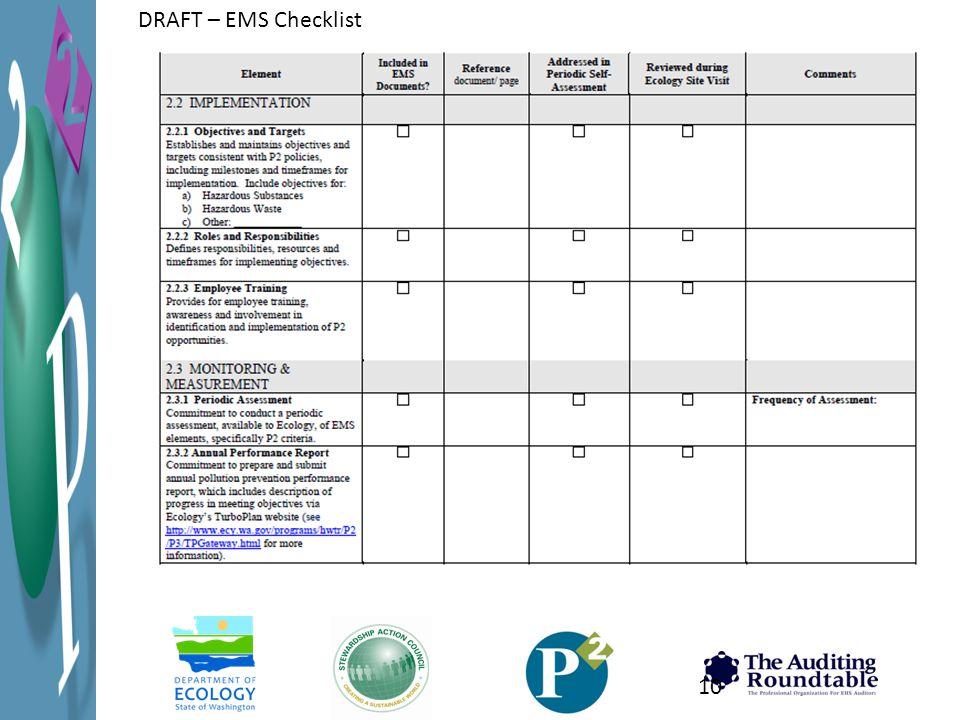 DRAFT – EMS Checklist