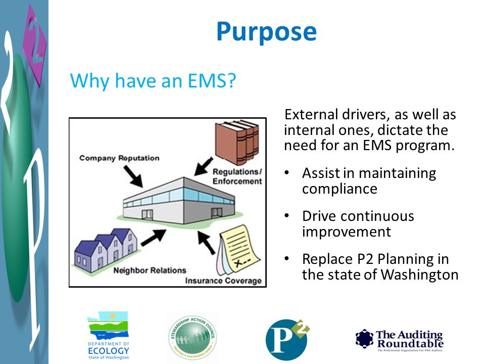 Purpose Why have an EMS External drivers, as well as internal ones, dictate the need for an EMS program.