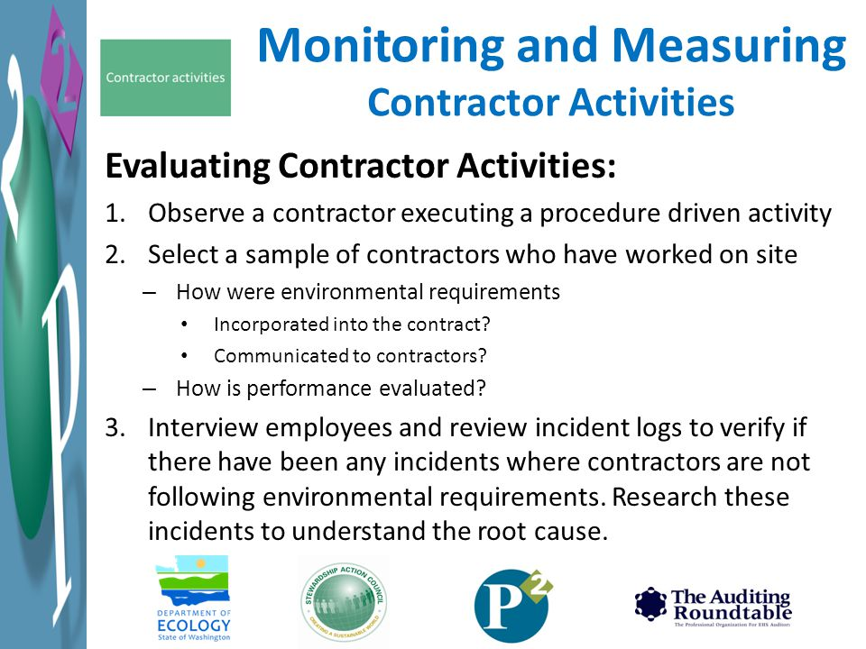 Monitoring and Measuring Contractor Activities
