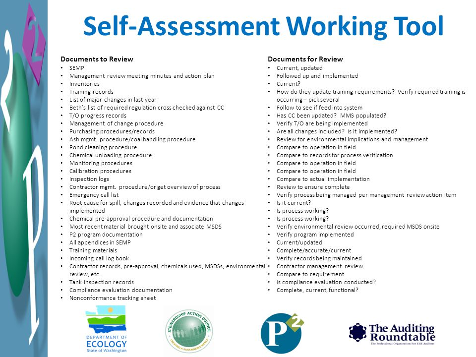 Self-Assessment Working Tool