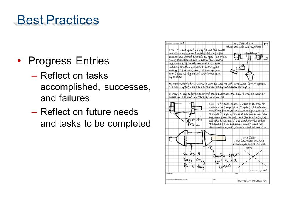 Best Practices Progress Entries
