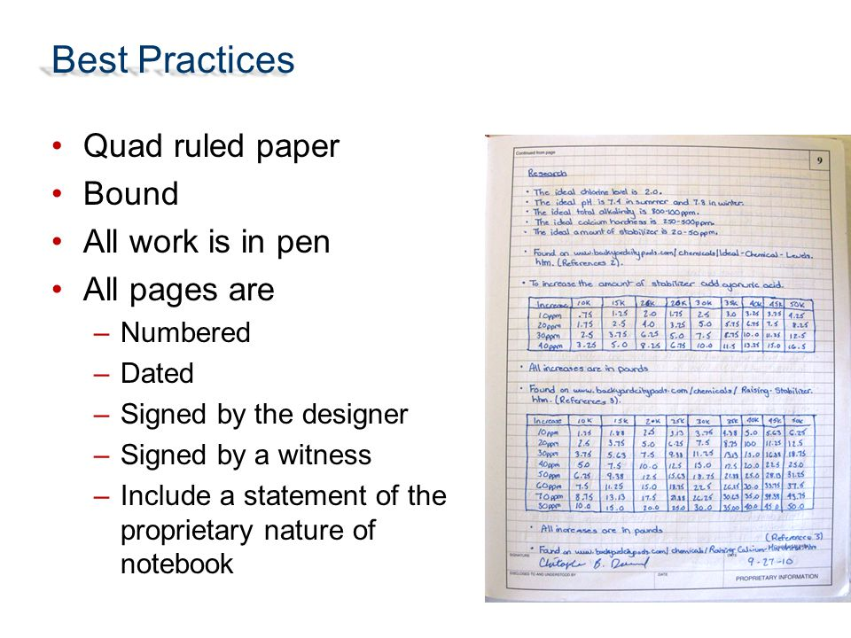 Best Practices Quad ruled paper Bound All work is in pen All pages are