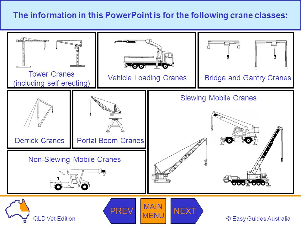The information in this PowerPoint is for the following crane classes: