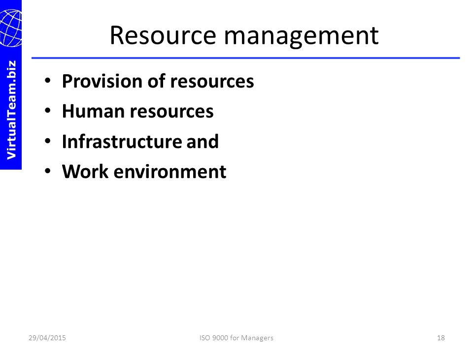 Resource management Provision of resources Human resources