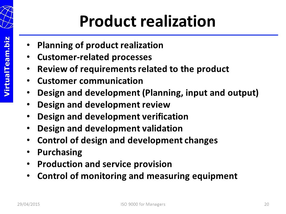 Product realization Planning of product realization