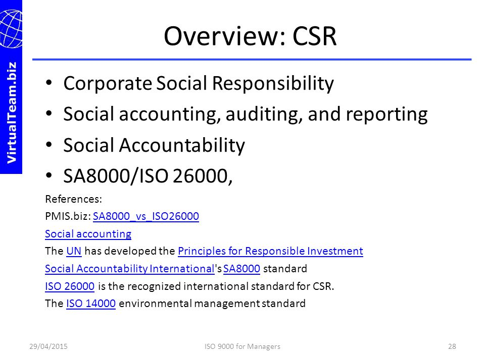 Overview: CSR Corporate Social Responsibility