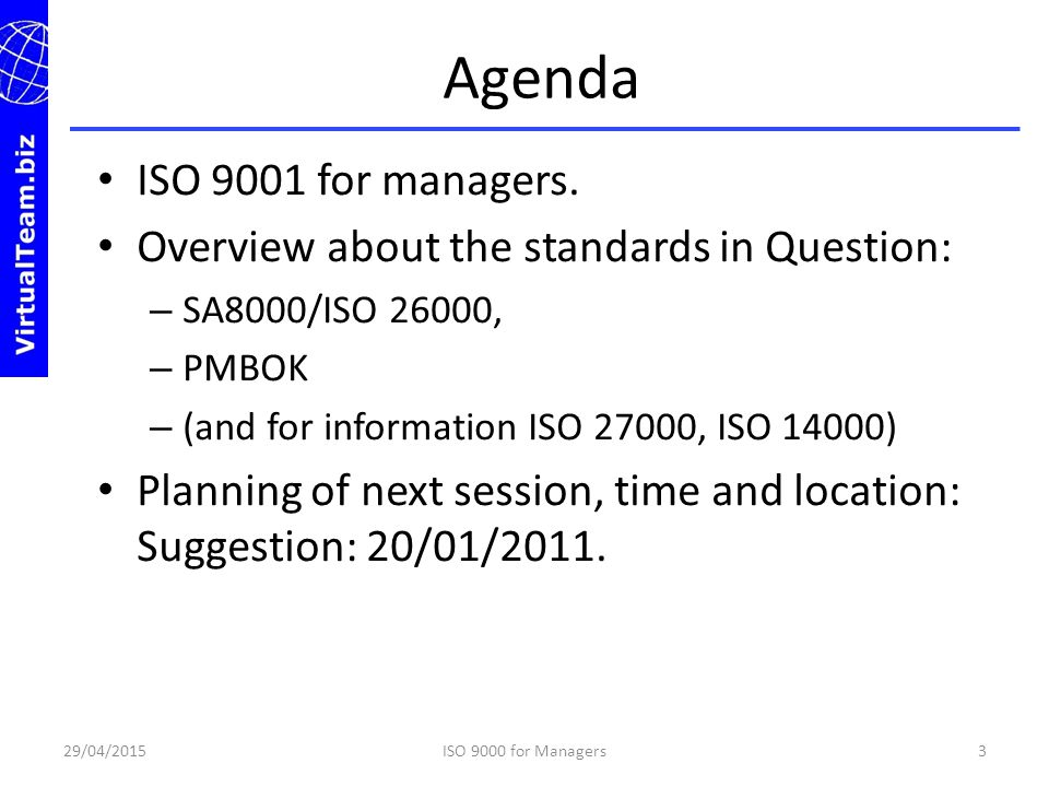 Agenda ISO 9001 for managers.
