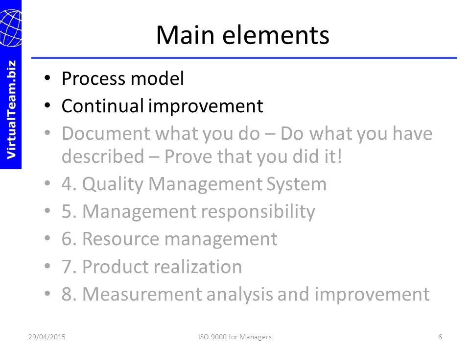 Main elements Process model Continual improvement
