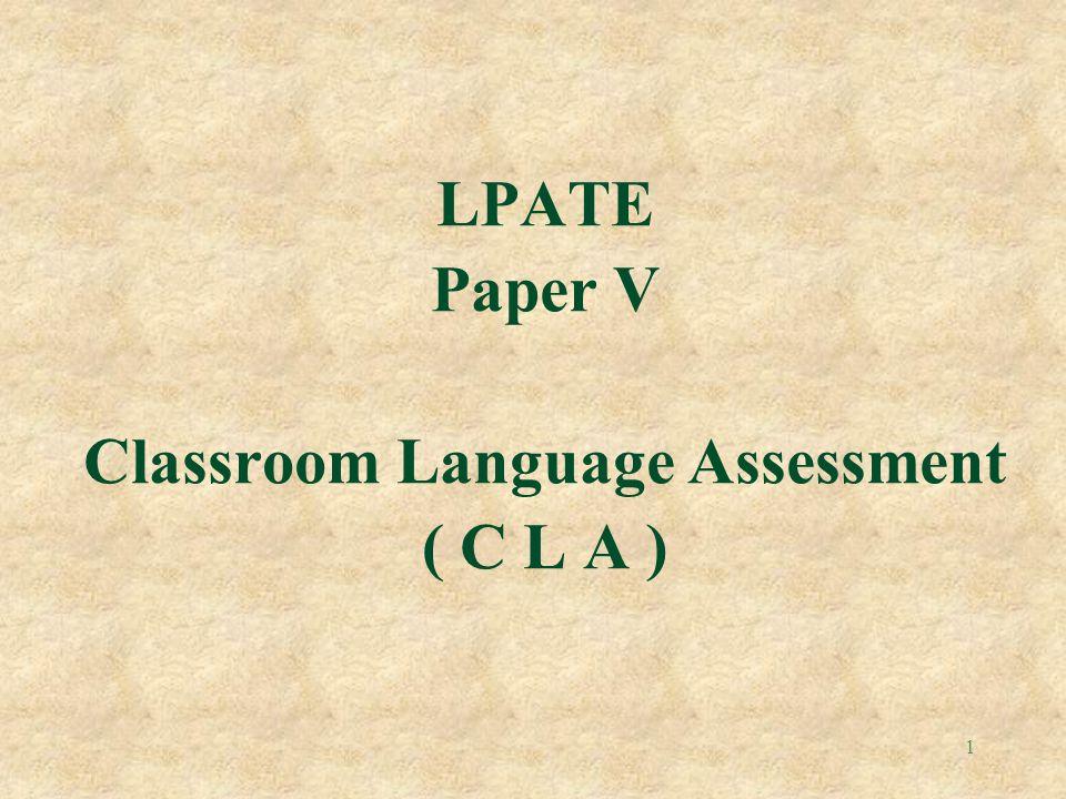 Classroom Language Assessment