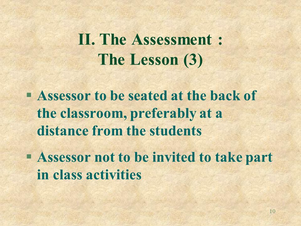 II. The Assessment : The Lesson (3)